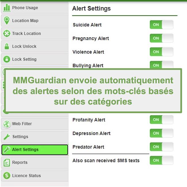 Capture d'écran de MMGuardian envoyant automatiquement des alertes pour les mots-clés basés sur des catégories