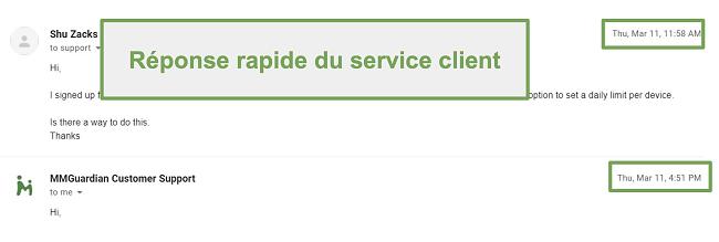 Capture d'écran de la réponse rapide du support client