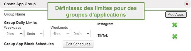 Capture d'écran de la définition de limites sur des groupes d'applications