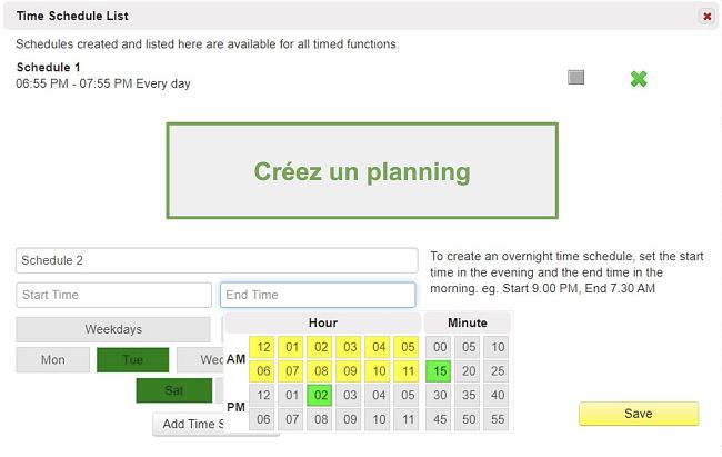 Capture d'écran de la liste des horaires