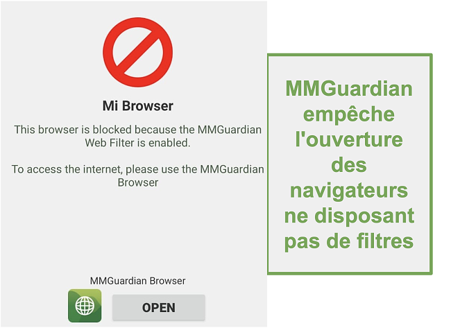 Capture d'écran de MMGuardian empêchant l'ouverture des navigateurs non filtrés