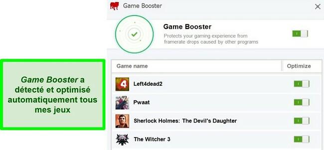 Capture d'écran de la fonction Game Booster de BullGuard avec liste des jeux optimisés automatiquement