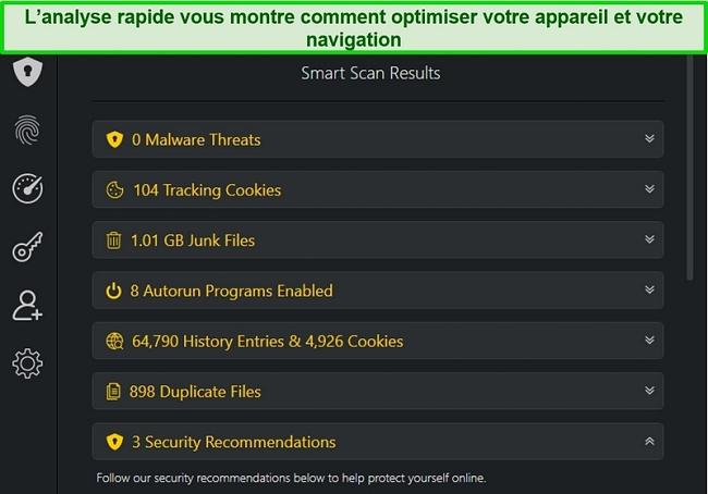 Capture d'écran du résultat Smart Scan de TotalAV