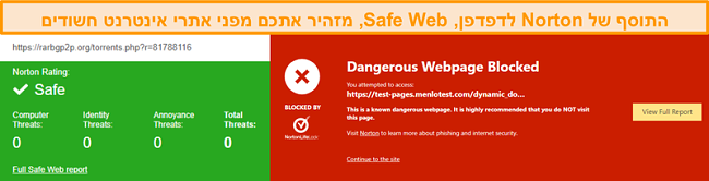 צילום מסך של Norton Safe Web המאשר כי אתר בטוח או מסוכן.