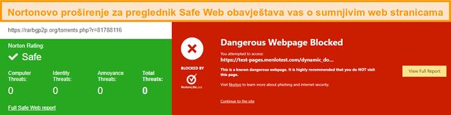 Snimak zaslona Norton Safe Weba koji potvrđuje da je web mjesto sigurno ili opasno.