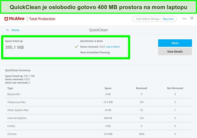 Snimka zaslona značajke McAfee QuickClean u sustavu Windows
