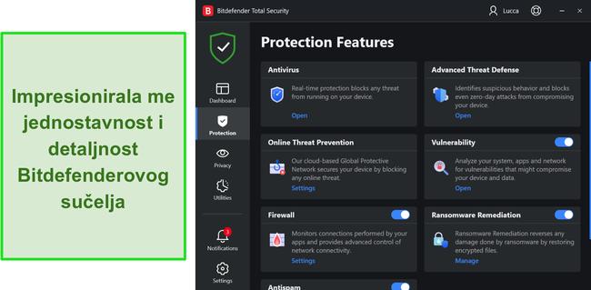Snimak zaslona Bitdefenderovog Windows sučelja aplikacije