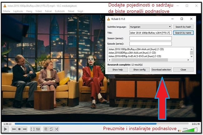 Preuzimanje datoteka Podnaslov sa VLC