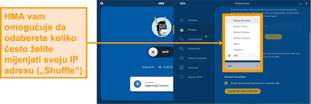 Snimka zaslona aplikacije HMA VPN koja prikazuje značajku IP Shuffle