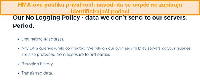 Snimka zaslona HMA VPN-a (Hidemyass) i njegovih pravila o zaštiti privatnosti za ne zapisivanje