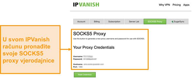 Snimka zaslona besplatnih vjerodajnica ZAPLJIVAČKIH PROXY POSLUŽITELJA NA WEB-MJESTU