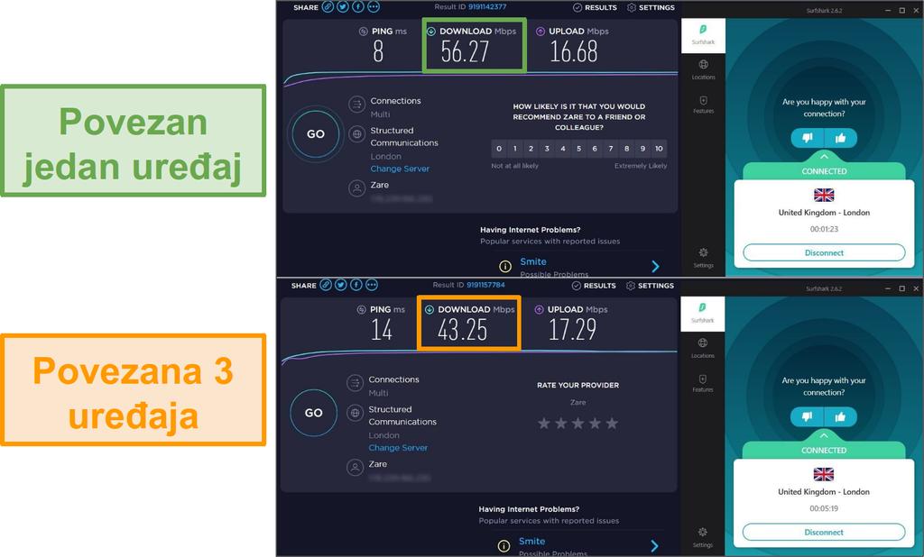 Snimka zaslona s razlikom brzine između 1 priključenog uređaja i 3 uređaja povezanih