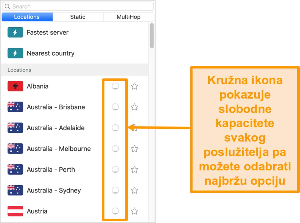Snimka zaslona popisa poslužitelja surfshark-a koji prikazuje učitavanje poslužitelja
