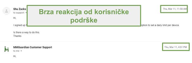 Snimka zaslona brzog odgovora korisničke podrške