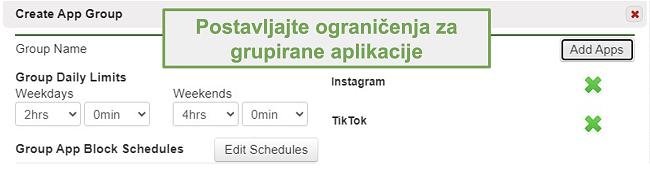Snimka zaslona postavljanja ograničenja za grupe aplikacija