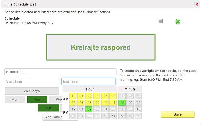 Snimka zaslona popisa vremenskog rasporeda