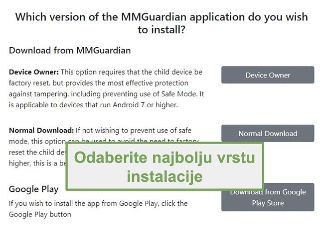 Snimka zaslona odabira vrste instalacije