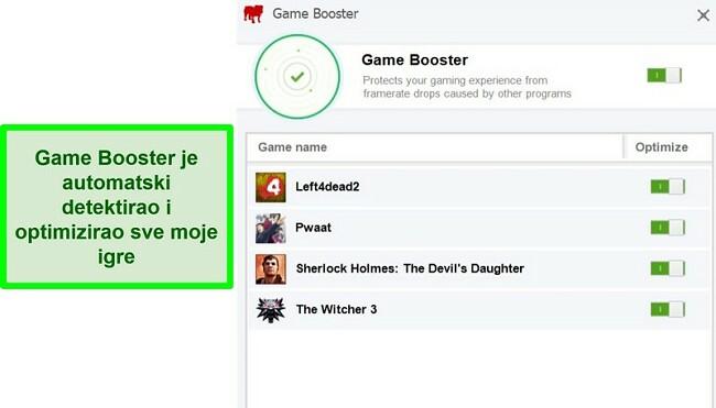 Snimka zaslona značajke Game Booster tvrtke BullGuard sa popisom automatski optimiziranih igara