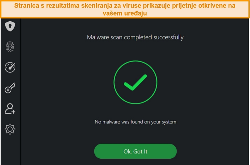 Snimka zaslona rezultata skeniranja virusa TotalAV-a