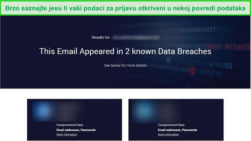 Snimka zaslona koja prikazuje rezultate ispitivanja kršenja podataka