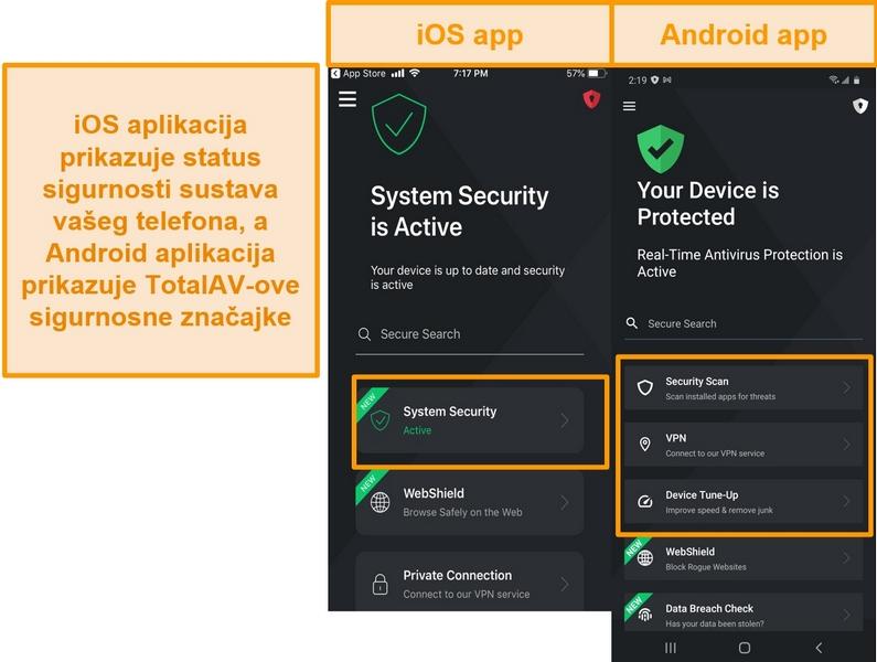 Snimka zaslona koja prikazuje razliku između iOS i Android TotalAV aplikacija