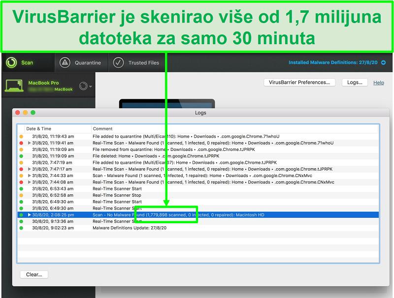Snimka zaslona zapisnika skeniranja virusa Intego koji pokazuje da je skenirao 1,7 milijuna datoteka u 30 minuta