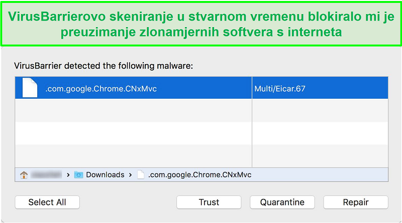 Snimak zaslona skočnog prozora za blokiranje zlonamjernog softvera intego