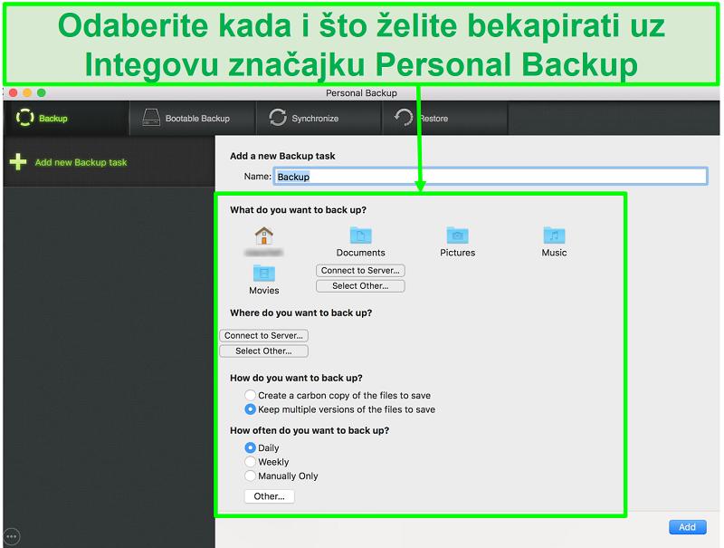 Snimka zaslona Intego osobnog sigurnosnog sučelja s prilagodljivim opcijama sigurnosne kopije podataka