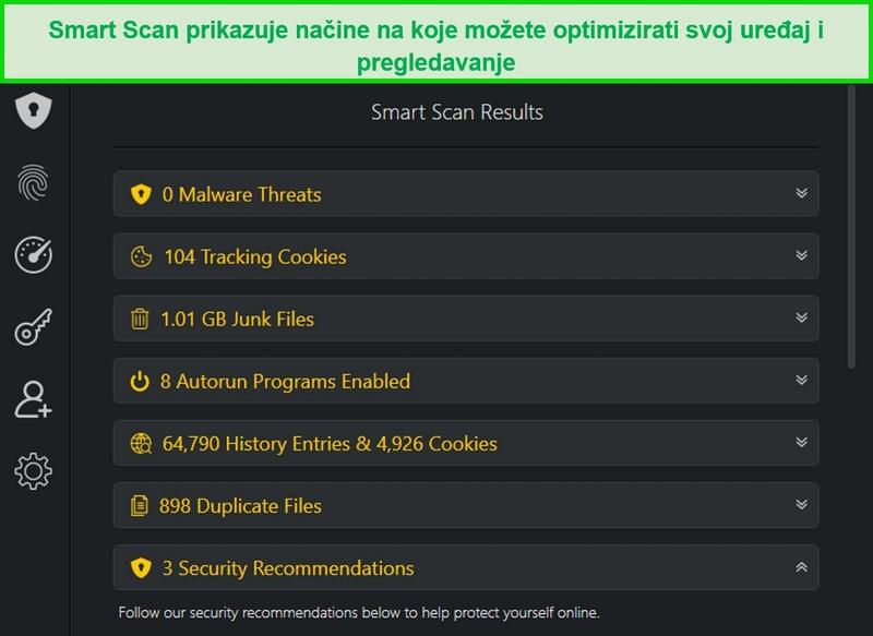 Snimka zaslona rezultata pametnog skeniranja