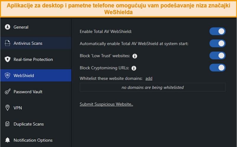 Snimka zaslona postavki WebShield-a u TotalAV-ovoj aplikaciji za stolne računale