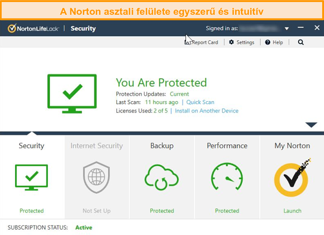 Norton 360 Windows felület