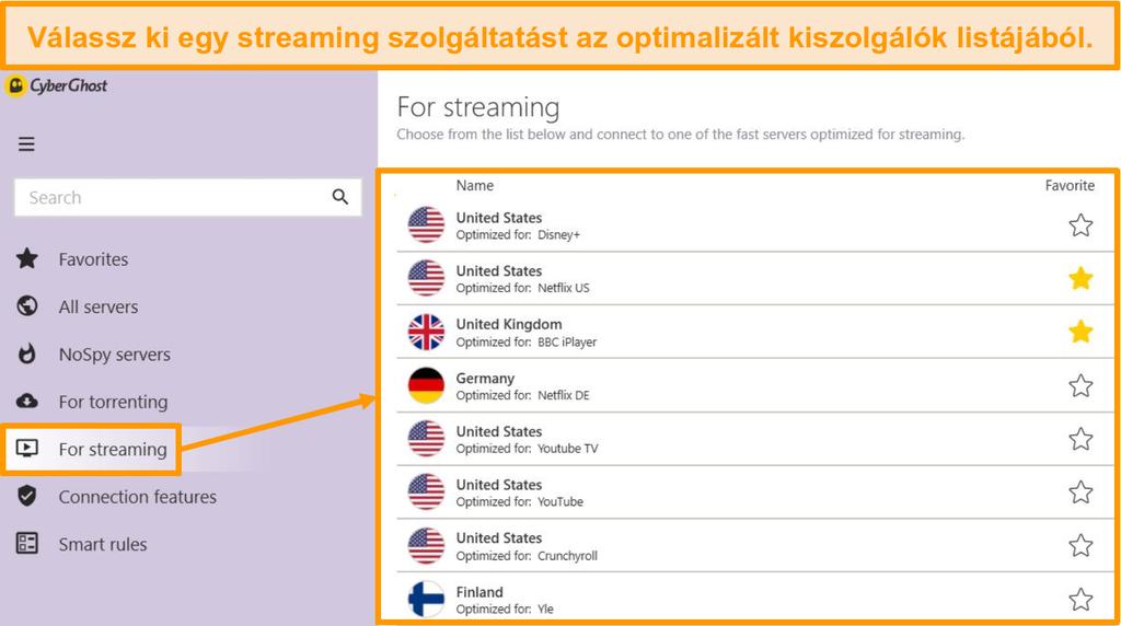 Képernyőkép a CyberGhost optimalizált streamelési kiszolgálóiról a Windows alkalmazásban