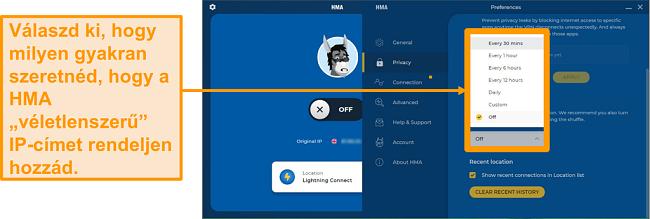 Képernyőkép a HMA VPN alkalmazásról, amely az IP Shuffle funkciót jeleníti meg