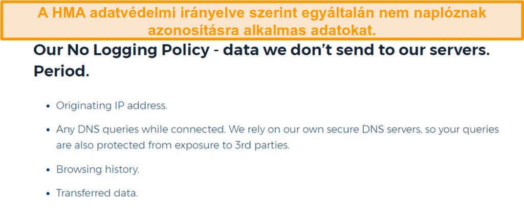 Képernyőkép a HMA VPN -ről (Hidemyass) és a naplózás nélküli adatvédelmi szabályzatáról
