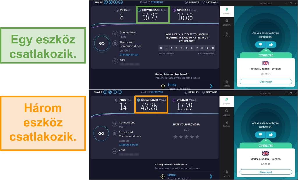 Képernyőkép az 1 csatlakoztatott és 3 csatlakoztatott eszköz közötti sebességkülönbségről