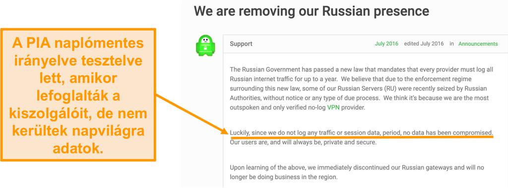 Képernyőkép a privát internet-hozzáférés VPN webhelyéről egy blogbejegyzésvel, amely leírja a PIA Oroszországi kivonulásának okát