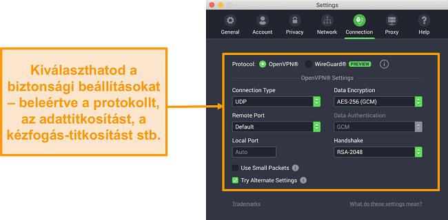 Képernyőkép a Privát internet-hozzáférés VPN-ről és a Mac alkalmazásáról, amely a Kapcsolat lap testreszabási beállításait jeleníti meg