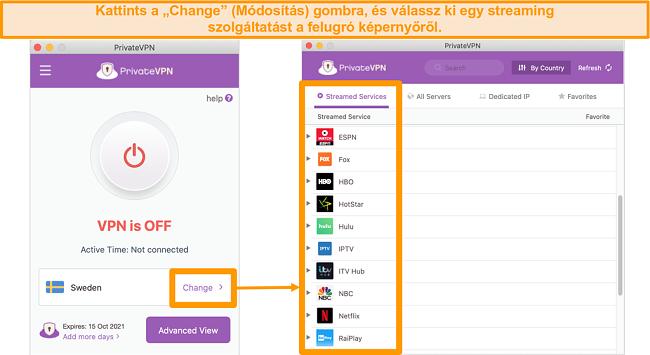 Képernyőkép a PrivateVPN Mac alkalmazásáról, amely az optimalizált kiszolgálók listáját jeleníti meg a streameléshez