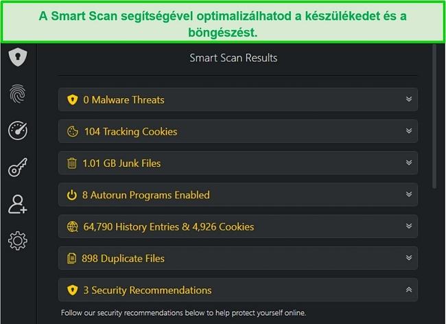 Pillanatkép az Smart Scan eredményekről