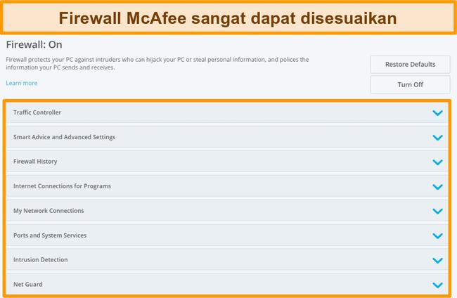 Tangkapan layar fitur McAfee Firewall