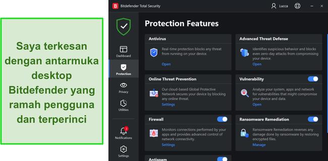 Tangkapan layar dari antarmuka aplikasi Windows Bitdefender