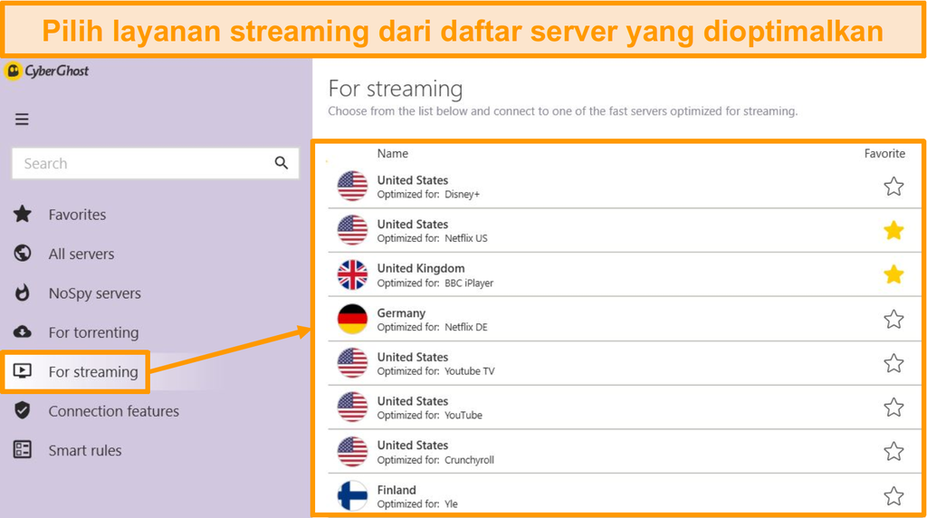 Cuplikan layar server streaming CyberGhost yang dioptimalkan di aplikasi Windows
