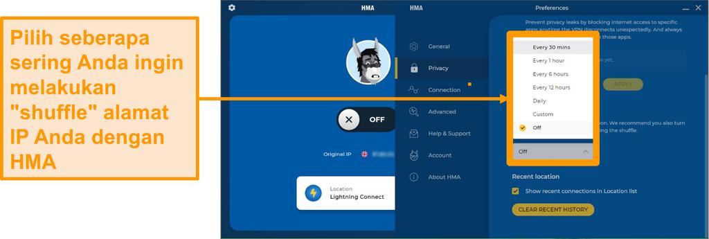 Cuplikan layar aplikasi HMA VPN yang menampilkan fitur IP Shuffle