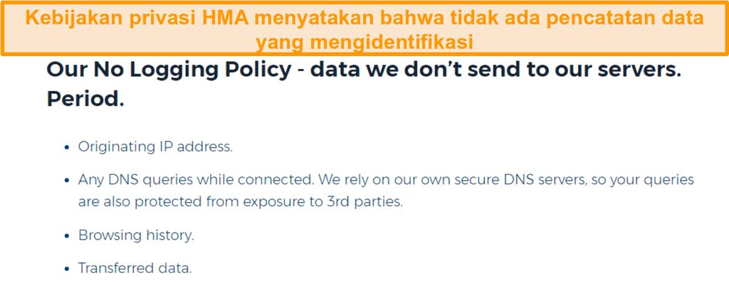 Screenshot dari HMA VPN (Hidemyass) dan tanpa Logging kebijakan privasi