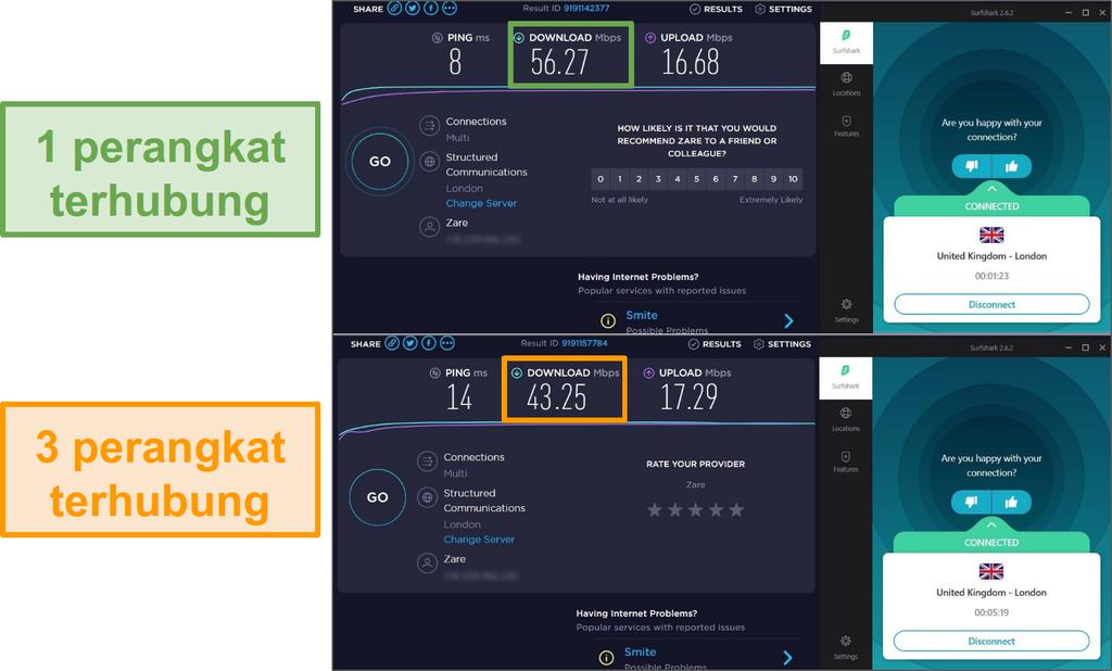 Screenshot perbedaan kecepatan antara 1 perangkat terhubung dan 3 perangkat yang terhubung