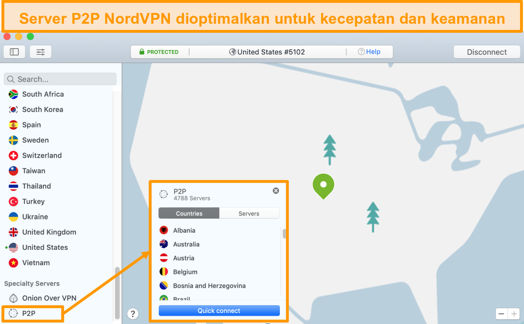 Screenshot server P2P NordVPN di aplikasi Mac