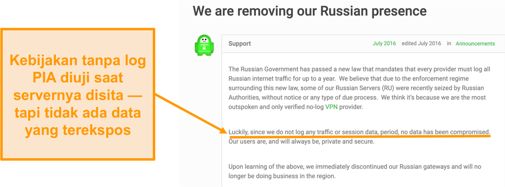 Screenshot dari situs web Private Internet Access VPN dengan posting blog yang menjelaskan alasan di balik penarikan PIA dari Rusia