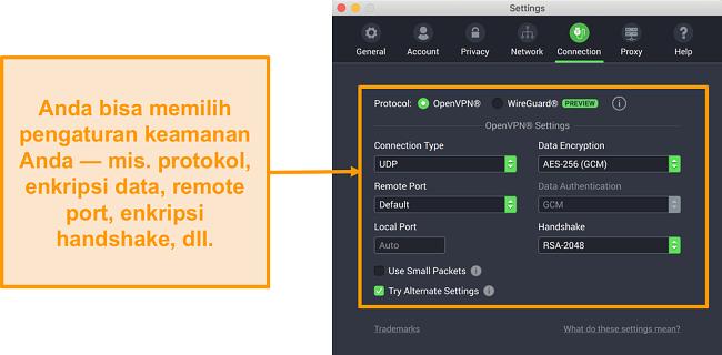Screenshot dari Private Internet Access VPN dan aplikasinya untuk Mac yang menampilkan opsi kustomisasi tab Connection