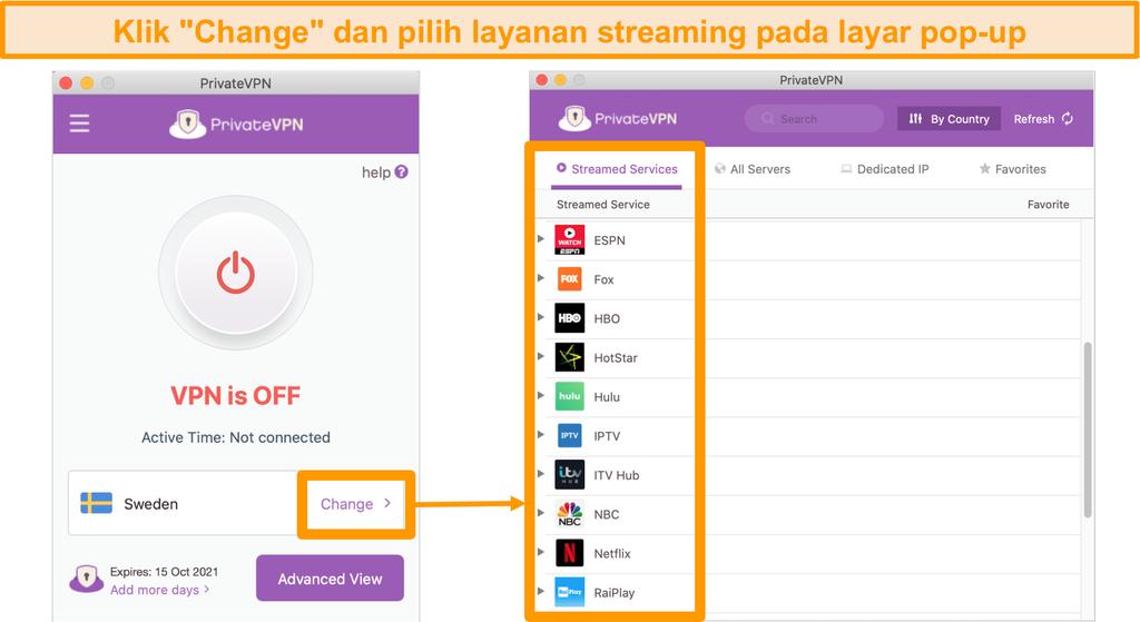 Screenshot dari aplikasi Mac PrivateVPN menampilkan daftar server dioptimalkan untuk streaming