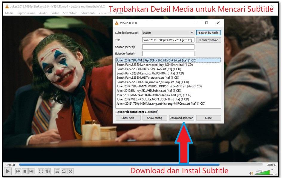 Unduh Subtitle dengan VLC
